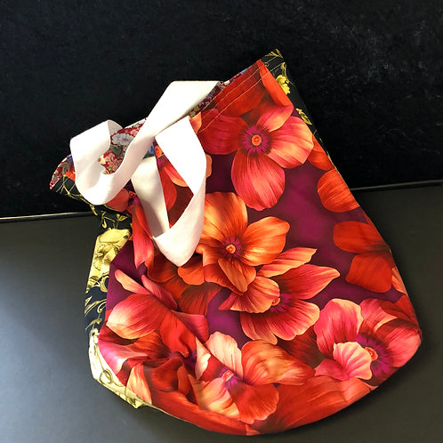 Flower tote bag (red, brown, black)