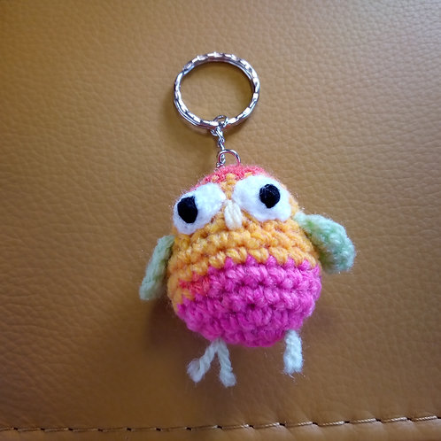 Multicoloured Bird Crochet Keyring