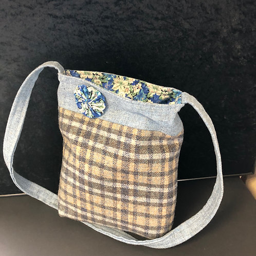 Small tweed tote bag (blue)