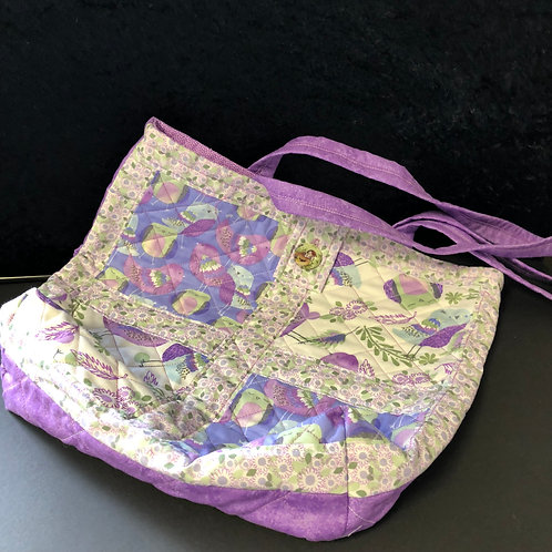 Quilted tote bag (lilac)