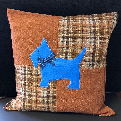Scotty Dog, tweed cushion (blue & brown)
