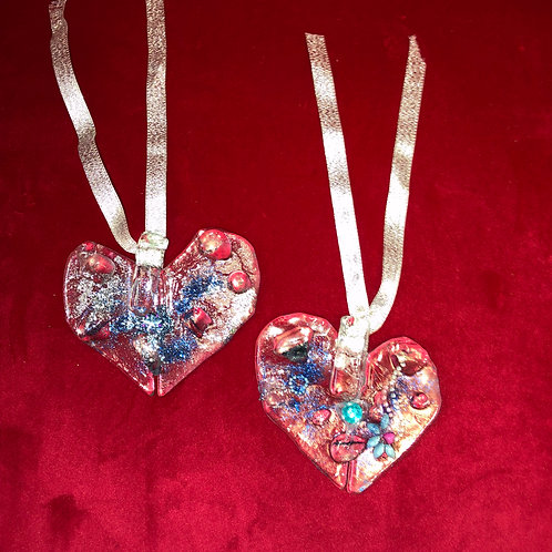Hanging Glass Hearts by Lorraine Thorpe