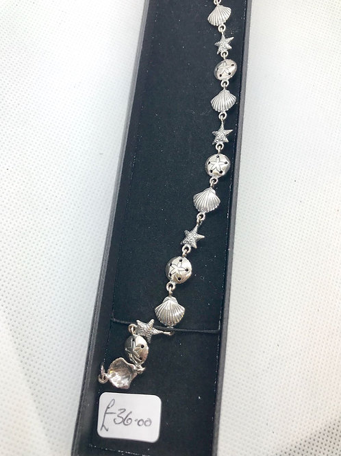 Seashell and Starfish Silver Tide Bracelet