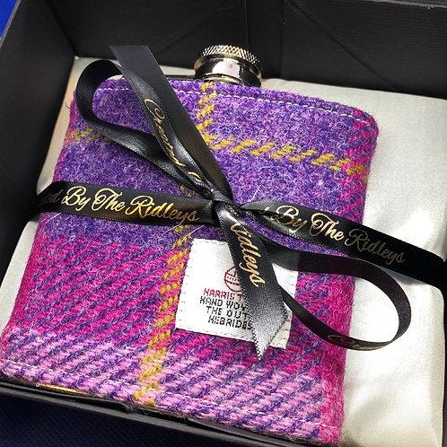 Pink and Purple Harris Tweed Hip Flask