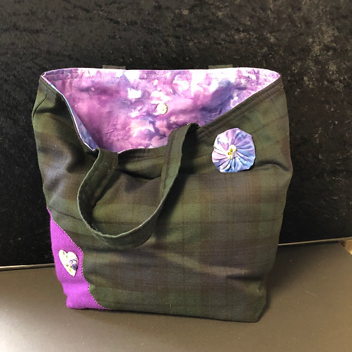 Black Watch Tartan Tote Bag (lilac)