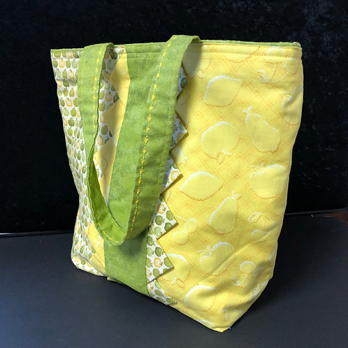 Small Green Quilted Tote Bag