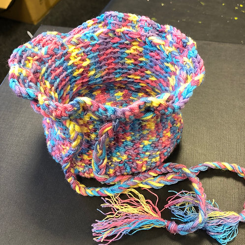Crocheted multi coloured purse