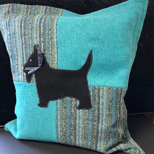 Scotty Dog cushion (blue & black)