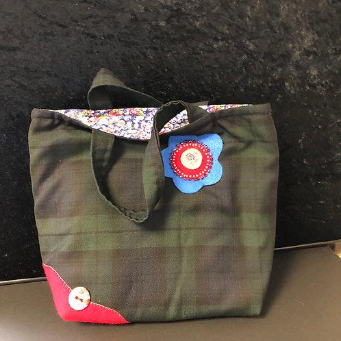 Tartan tote bag (floral and tartan)