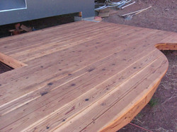 Redwood deck with curve