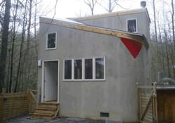 Big Cabin inside courtyard red tile exterior