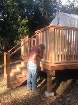 redwood deck and railing Mendocino