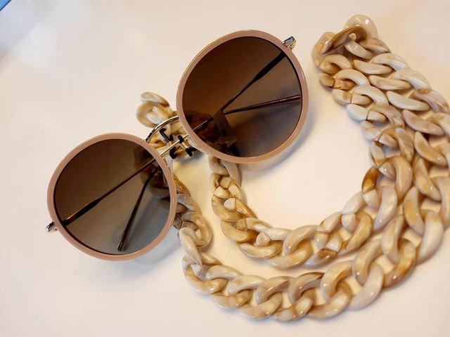 Chaîne à lunettes grosses mailles écaille beige