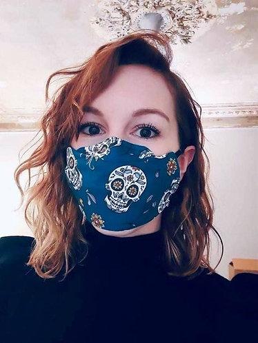 Masque anti-buée calavera bleu