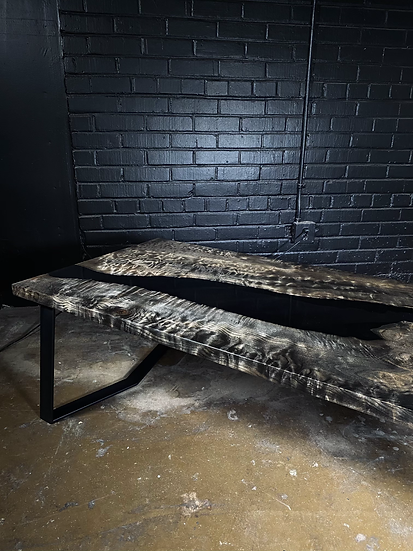 Ebonized Quilted Maple | Coffee Epoxy Table