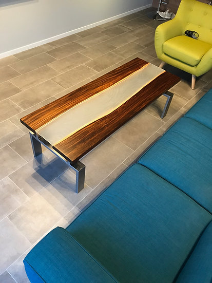 Willow Acacia Coffee Table with Glass Inlay