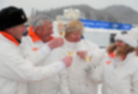 Trainer John Best, owners Bob Malt, Mark Curtis and Racing Manager Helen Williams celebrate success in St Moritz. Picture courtesy swiss image.ch