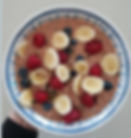 Banana, Blueberry, Rasberry, Raw Cocao, Mixed Seeds, Porridge, Almond Milk, Vegan Breakfast, Kids breakfas ideas