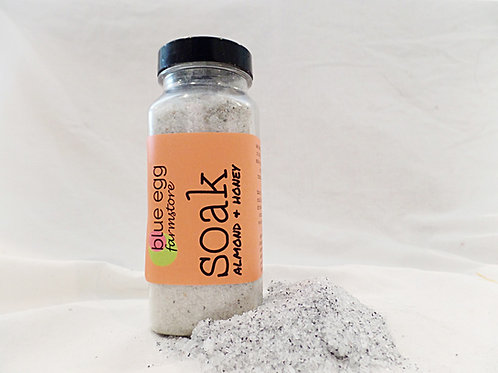 blue egg farmstore almond and honey activated charcoal bath salt