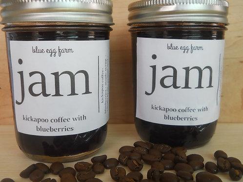 kickapoo coffee with blueberries jam