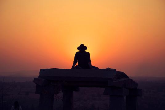 Cowboy during sunset