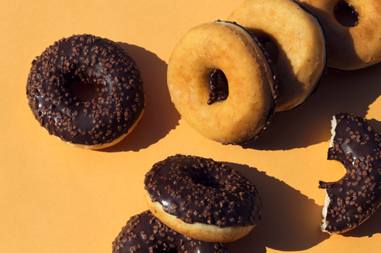 Donuts on yellow