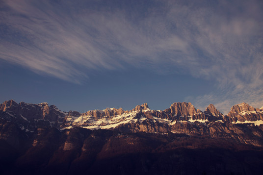 Swiss mountains during sunset