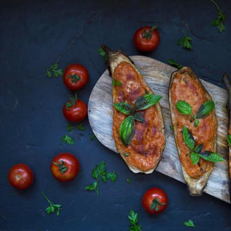 Aubergines farcies au four, à la viande hachée et au parmesan