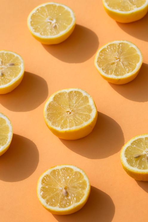 Lemons on yellow