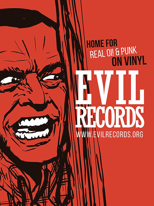 EVIL RECORDS Real Oi! and Punk on vinyl A3 Size Poster