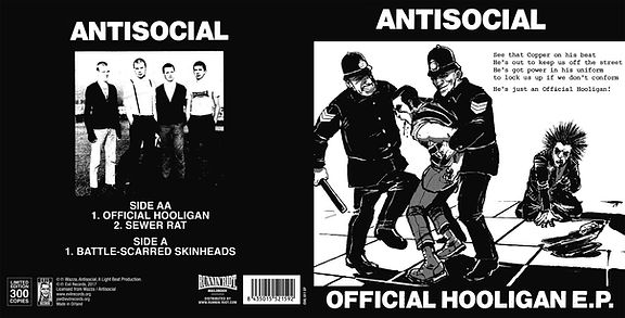 "Artwork for ANTISOCIAL Official Hooligan 7"" released on Evil Records"