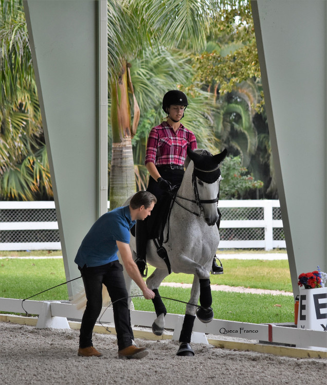 Emily riding Cristal in clinic