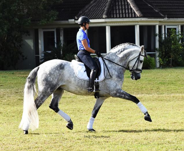 Carmen riding Uriel in the field