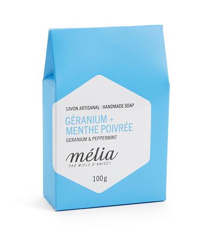 Savon en vrac   Miels D'anicet - Mélia   Géranium + Menthe poivrée