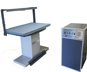 Vacuum ironing table with steam press