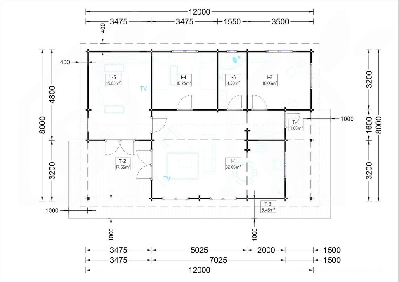 plano modelo Linda 72m2 3 dormitorios, recibidor, sala comedor, cocina, baño y 38 m2 de terrazas