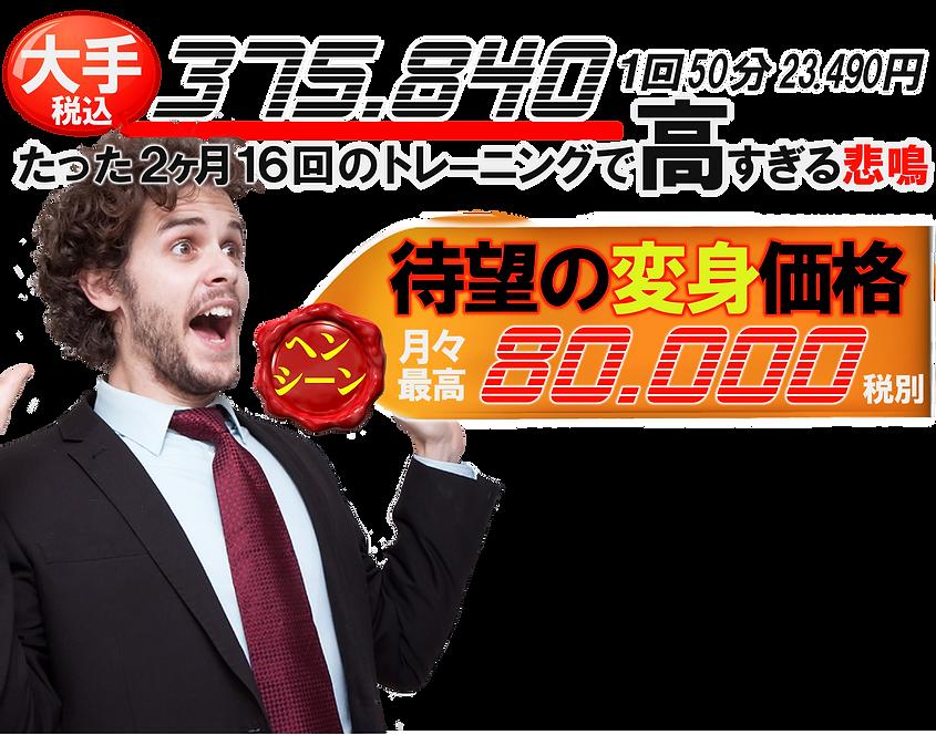 大手パーソナルトレーニングジムはたった2ヶ月16回のトレーニングで¥375840円(1回50分23490円相当)と高過ぎる!そこで我々ESGは待望の価格破壊、月コース最大¥80000円(1回90分10000円以内)を実現させました!