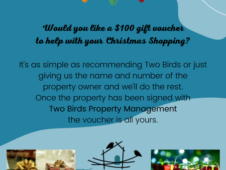 Would you like Two Birds Property Management to fund your Christmas Shopping?