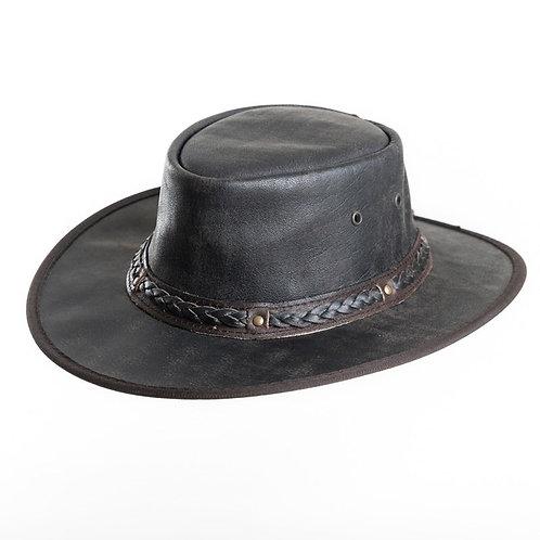 Australische hoed van chocoladebruin geruwd leer