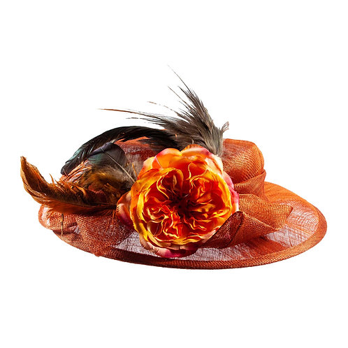 Parelmoer oranje hoed met veren