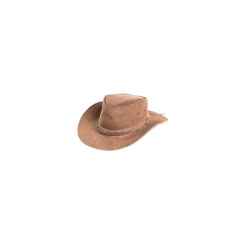 Zwarte leren hoed in Australische stijl met een gevlochten band