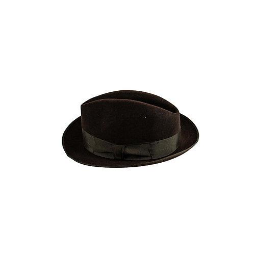 Donkerbruine hoed met brede bruine rand