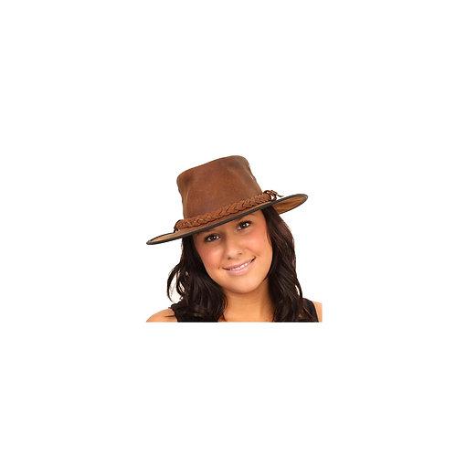 Zwarte leren hoed in Australische stijl