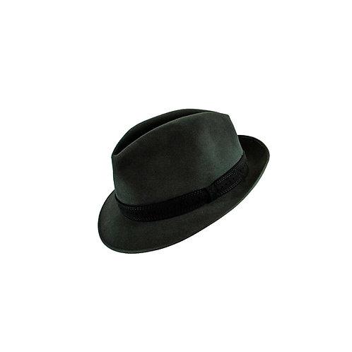Licht grijze hoed met een donkergrijze smalle band