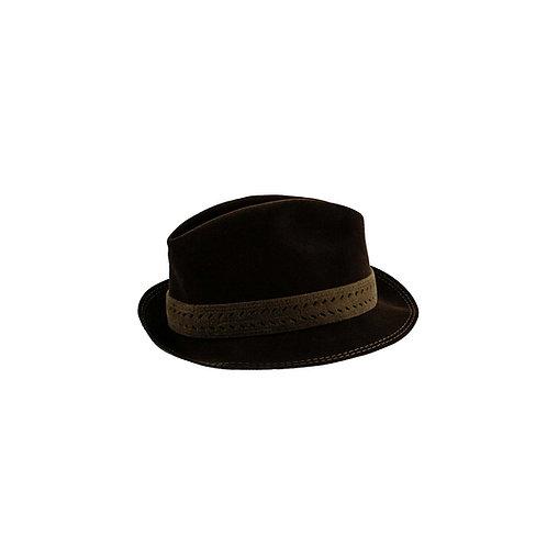donderbruine hoed met een licht bruine rand