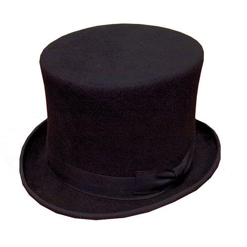Zwarte  wolvilten hoge hoed (hoogte: 13 cm) met brede rand