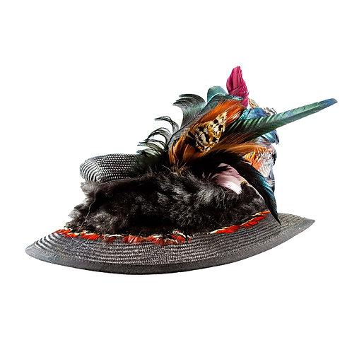 Grijsbruine dames hoed met veren