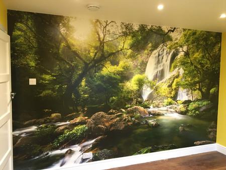 Playroom paint and wallpaper mural