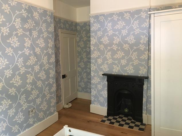 Farrow & Ball bedroom wallpaper throughout