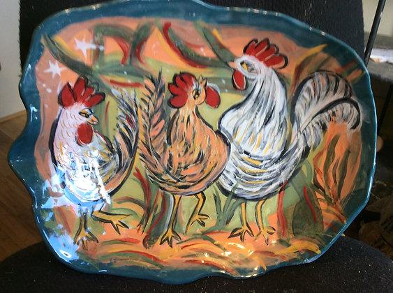 Roosters Gossip in the Barnyard